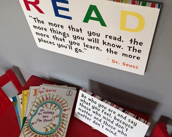 READ - Dr. Seuss Quote Wood Sign