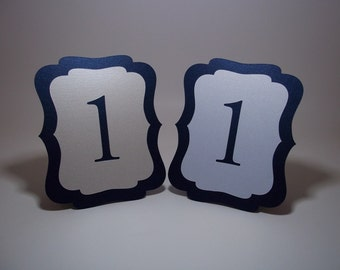 Wedding Table Numbers Navy Blue and Ivory/White Shimmer  - Free-standing - Cut Out