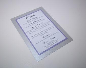 Elegant Shimmer Silver, Purple Amethyst and White Menu Card  - Wedding - Dinner - Party - Birthday Menus 5x7 Size