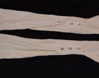 "Women's vintage off white ivory nylon stretch opera gloves button wrist size ""medium"""