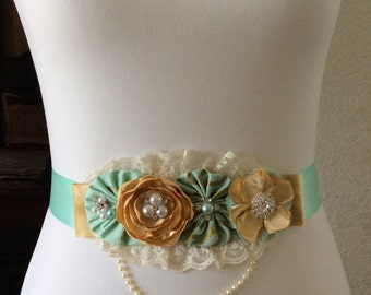 Mint Green & Gold Maternity Sash