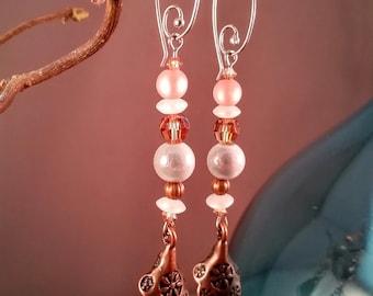 Peach Copper Earrings, Unique Swarovski Crystal Earrings, Exquisite Dangle Earrings, Crystal Dangle Earrings, Spiritual Earrings