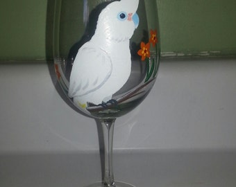 Goffins cockatoo wine glass, hand painted