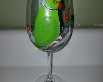 Ring neck wine glass, hand painted