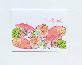 Coastal Seaside Colorful Shell Thank You Note Cards