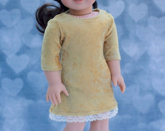 18 Inch Girl Doll Clothes   Biscotti Tan Velvet and Lace 3/4 Sleeve DRESS for Dolls such as American Girl