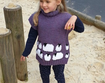 Sheep Tunic Knitting Pattern,  Sweater and Hat with Sheep for children, ages 2-10 years, Child's sheep sweater and hat knitting pattern