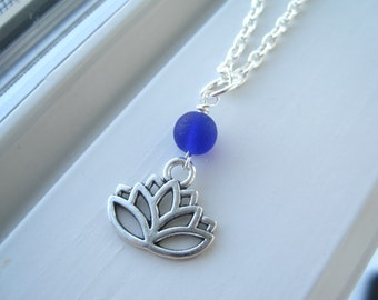 Lotus Flower Necklace - Blue Necklace - Yoga Necklace - Yoga Necklace - Lotus Flower Jewelry - Recycled Glass Jewelry - Yoga Gift