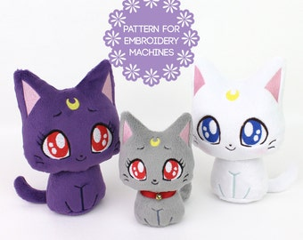 ITH In The Hoop embroidery machine design bundle - plush cat pattern Sailor Moon Kitty 4 faces 2 sizes some sewing kawaii plushie