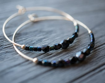 night / jet black and midnight blue gold hoop earrings