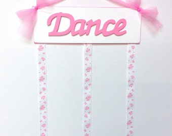 Dance Sign Girls Bedroom Wooden Hairbow Holder Hair Bow Pink and White with Ballet Slippers Ribbon