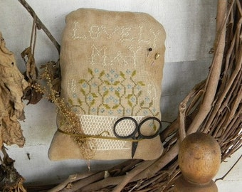 Pattern: Lovely May Cross Stitch Pillow created by Notforgotten Farm