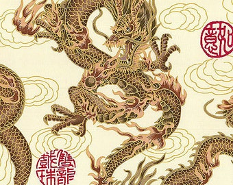 FIRE-BREATHING DRAGONS: Beige Asian Japanese Fabric (By the Yard)