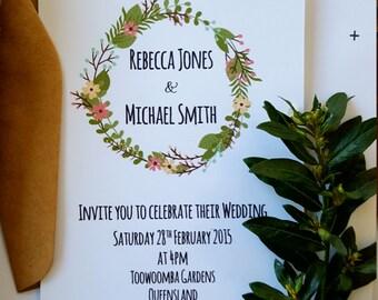 Boho Floral Wreath Wedding Invitation & RSVP card- WI09