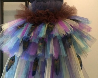 Peacock Tutu Costume Pageant Party Portrait Dress with Peacock Feathers Long Layers