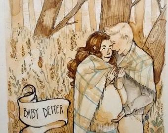 Custom Maternity Watercolor Painting 8x10
