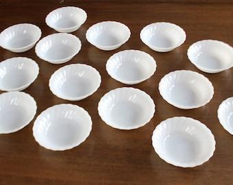 Berry Dessert Bowl, Set of 16, Oven Proof Anchor Hocking, Milk Glass Dish
