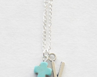Turquoise Cross Necklace, Confirmation Gift, Confirmation Necklace, Cross Necklace, Prayer Necklace, Christian Necklace, Christian Jewelry