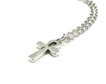 Ankh Cross Necklace Silver Chain Egyptian Style Jewelry