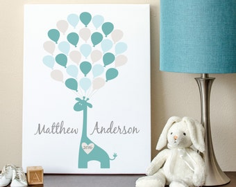 Baby Guest Book, Baby Shower Sign-In, Giraffe Guest Book, Giraffe Baby Shower Guest Book Alternative - 16x20 - 29 Balloons