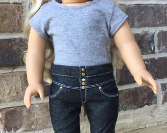 Black Denim High Waisted Designer Jeans fit 18 inch dolls