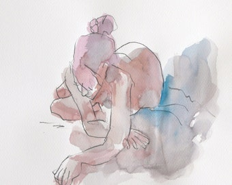 Woman lying face, hands in front. Painting. Watercolor. Art. Sketch