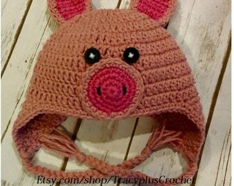 Pig hat. Crochet Pig beanie. Newborn to adult sizes. Handmade to order.