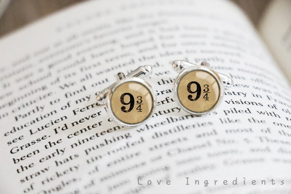 Harry Potter Cufflinks, Platform 9/34 Cuff Links, Men cufflinks, Groomsmen Cufflinks, Gift for him, Birthday gift, Christmas gift, CL029