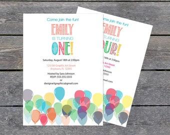 Balloon Birthday Invitation Template - Balloon Invite. Boy or Girl Printable Invitation Editable PDF Template Download - 5 x 7 PDF Format