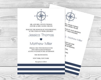 Compass Wedding Invitation Template - Navy Compass & Striped Printable Wedding Invitation Editable PDF - Instant Download - DIY You Print