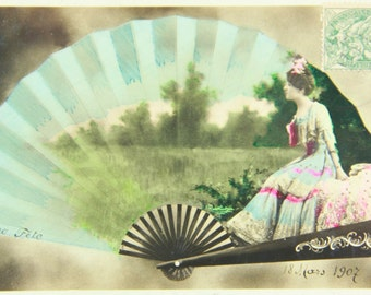 Antique romantic postcard, girl with a fan pattern. Reutlinger Postcard, French 1900s RPPC