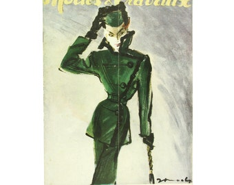 Vintage French fashion magazine Modes & Travaux,  1946 fashion news, green winter outfit