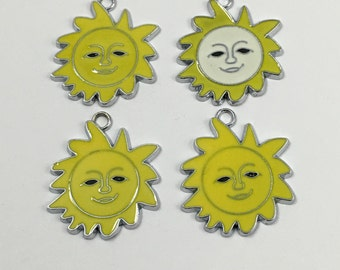 4 sun charms yellow enamel and silver tone 36mm #CH220