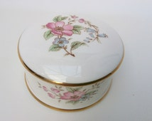 Vintage trinket box china gift ring box with very sweet floral decoration jewellery jewelry trinket