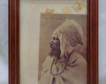 """1986 Picture of """"Arabe de Biskra"""" w. Antique Style Wooden Frame- VINTAGE"""