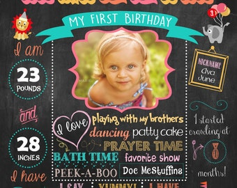 Circus, Carnival First Birthday Chalkboard Poster DIGITAL FILE