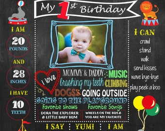 Circus, Carnival, First Birthday Chalkboard Poster DIGITAL FILE
