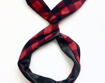 Red Buffalo Plaid and Black Faux Leather Reversible Bendable Wire Headband- Byrd Band