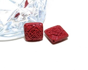 Vintage Hand Carved Red Wood Beads Square Shaped 2pcs