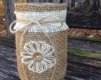Rustic Burlap Centerpiece Mason Jar Table Centerpieces Wedding Home Decor
