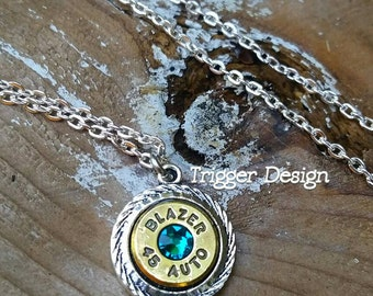 45ACP Bullet Charm Necklace- Teal