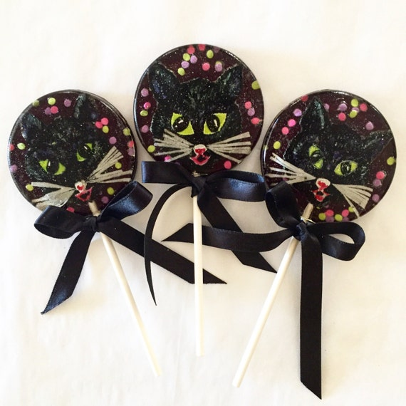 3 Spooky Black Cat Halloween Natural Strawberry Flavored Lollipops
