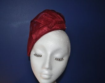 Red Fascinator Beret Hatinator Dark Red Beret