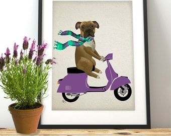 Boxer on Scooter Boxer dog print boxer on moped boxer dog painting art print boxer portrait funny dog print nursery dog print gift for geek
