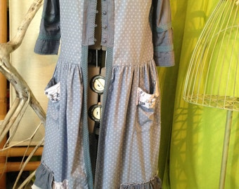 Apron Shabby dress T 40-42 three shades of blue for romantic superpostion
