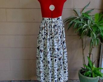 Vintage Silk Midi Skirt / Abstract Print / Medium Large