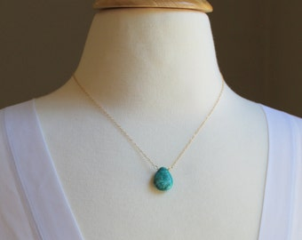 Turquoise Briolette and Silver Necklace - Turquoise Teardrop Pendant Necklace - Bridesmaids Necklace - Turquoise Necklace