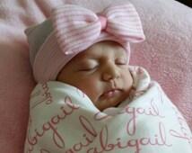 Hospital Newborn Beanie, Baby's First Bow! Newborn Hat, Baby Girl Hospital Hat, Newborn Girl Hat