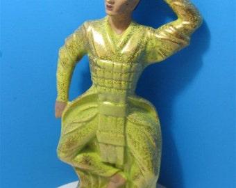 1950s Ceramic Oriental Asian Samurai Dancer Warrior Figurine Collectible Collector