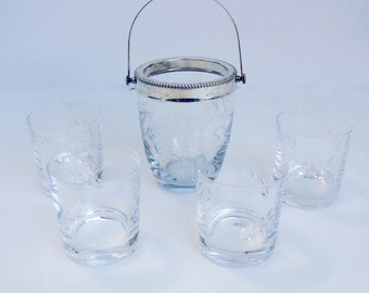 French Cut Crystal Glass Ice bucket & matching Whisky Tumblers Glasses Wheat Barley design